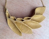 Petal Collection-  Dark Yellow Leather Necklace