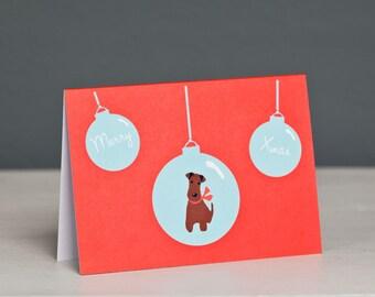 Irish Terrier Christmas Card - Terrier Christmas Card - Dog Card - Merry Xmas