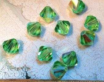 Vintage Crystal Bead, Swarovski 8mm Art 5301, Green Crystal Beads, Peridot AB Bicone, Bead Crystal Vintage, Swarovski Beads, Jewelry Making