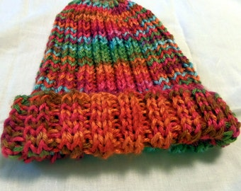 Knitted Hat, Fruit Punch Colors, Green, Orange, Pink