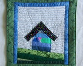 Mini Quilt Mug Rug or Coaster Crazy Town Green and Blue Cottage on the Hill