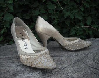 1980s Gold Quality Craft Heels/Pumps size  6.5B  Gold High Heels / Wedding Shoes
