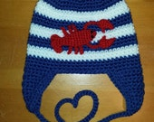 Crocheted Maine Lobster Striped Earflap Hat - Baby, Toddler, Child, Teen and Adult Sizes