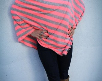 Neon Pink and Gray Nursing Cover/ Modern Nursing Poncho for Full Coverage and Privacy While Breastfeeding your Modern Baby Mother's Day