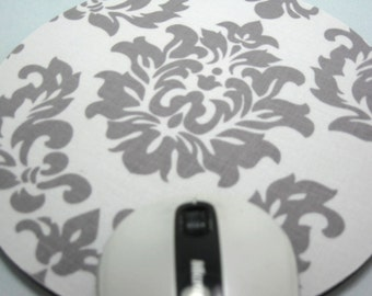 Buy 2 FREE SHIPPING Special!!   Mouse Pad, Round Fabric Computer Mousepad, or Trivet   Mystique Damask