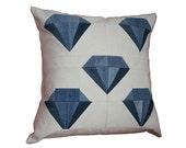"""Indigo Diamonds Modern Quilt Pillow / Recycled Denim Pillow / Home Decor / 20"""" x 20"""" Throw Pillow"""