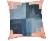 "Blossom Modern Quilt Pillow / Denim and Canvas Throw Pillow / Recycled Denim Decorative Throw Pillow / 20"" x 20"" Pillow"