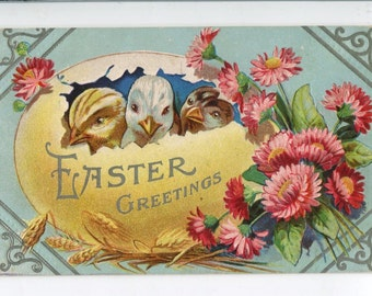 Easter Postcard - Easter Greeting Vintage Postcard embossed Easter chicks, big egg, flowers, Happy Easter
