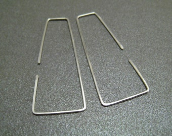 Sterling Silver Hoop Earrings - Flares - Hammered - Thin and Dainty - Simple Modern Minimal Wire Jewelry