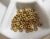 Czech O Beads 3.8x1mm, Hole ID 1.5mm - Silky Brass Gold - Approx 8.1 Grams