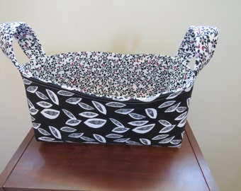 Fabric Basket Bin Storage Organization in Black, White, and Hot Pink Small Size