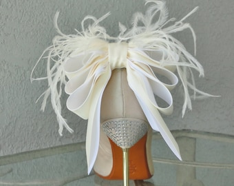 Bridal Shoe Clips Ivory And White Bow And Feather