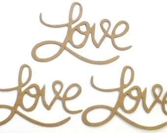 LOVE --- Title Word Phrase  Raw Bare Unfinished Chipboard Die Cuts