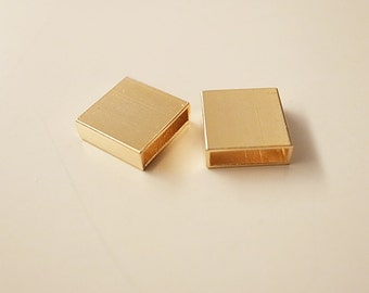 10 piece of newly made thick brass tube flat rectangular shape box cube 3x10x10 mm Plated in gold color