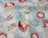 Paris theme fabric Half meter 50 cm by 106 cm or 19.6 by 42 inches  nc43