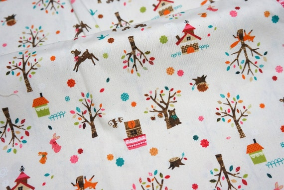 Japanese Fabric Forest animal print Half meter A6