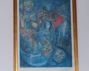 "Vintage Framed Print Marc Chagall ""Bella"", circa 1990s"