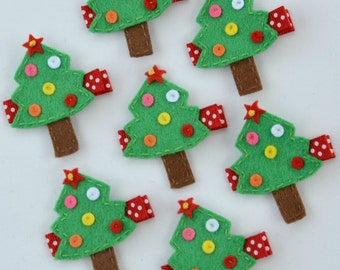 Christmas Tree Felt Hair Clip - Red, White and Green Winter Clippies - A cute holiday barrette - Christmas hairbow with non slip grip
