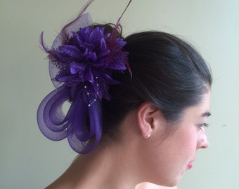 SINAMAY FASCINATOR ,  With Feathers and Pearl, Purple   /  F - 17