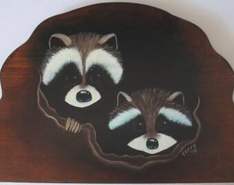 Raccoon painting oil on wood  Raccoon oil painting Raccoon art Raccoons