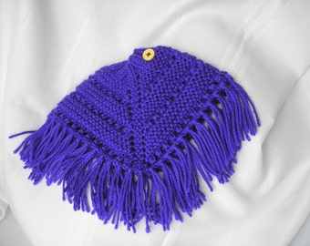 Knitted Poncho, Doll - Iris