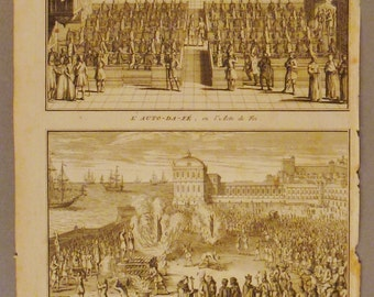 ANTIQUE L' AUTO Da Fe Inquisition   Original steel Engraving 1700s 14 1/4 x 9 3/4 in Ready to frame