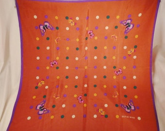Designer Hanae MORI Silk SCARF 1960s  Butterflies  Signed 31 x 31 colorful great condition