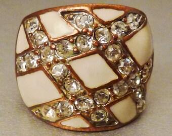 VINTAGE RING ENAMEL  on Copper White enamel criss cross with  Rhinestones size 5 1/2   1 7/8 n D