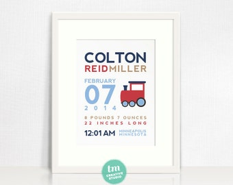 Custom Birth Announcement Print - TRAIN Wall art