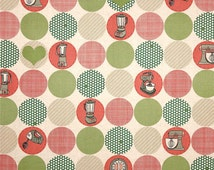 Clearance FABRIC RETRO Kitschenette KITCHEN Homemaker Circles  1/2 Yard