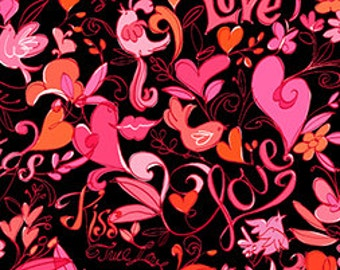 Clearance FABRIC XOXO Hugs and Kisses Hearts and Flowers on black Valentine's Day  1/2 Yard