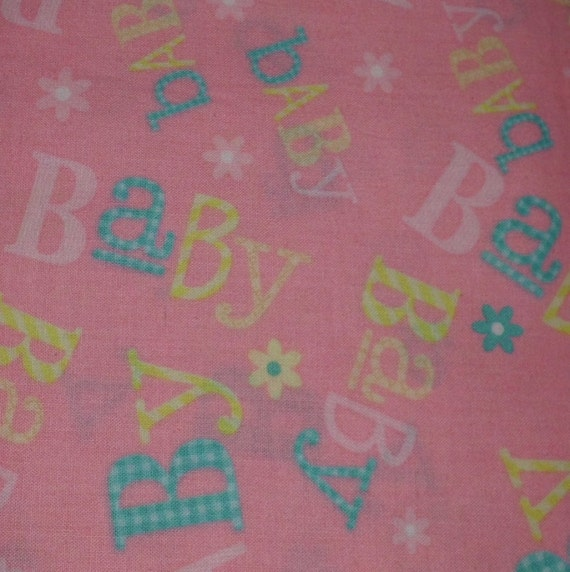 Pattern baby words nursery print cotton fabric sold by 1 2 for Nursery cotton fabric