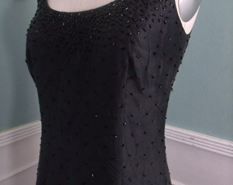 Vintage Black Dress. Jeweled Detailed Party Dress. Black Tie Dress. Cocktail Evening Dress.