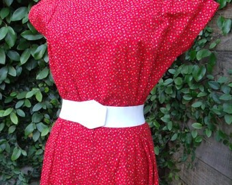 Vintage Red Calico Day Dress. 60's 70's Boho. Country Girl Cotton Summer Dress