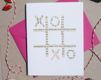"Cut-out ""XOXO"" Card, Hand-cut Cards on Vintage Paper, Valentine's Day Cards, XOXO, Tic Tac Toe"
