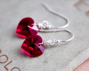 Crystal Heart Earrings, Crystal Heart, Red Heart, Dangle Earrings, Drop Earrings, Sterling Silver, Valentines Gift