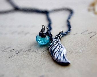 Bird Wing Necklace, Bird Wing Pendant, Angel Wing, Gemstone Pendant, Gemstone Necklace, Flight Necklace, Wing Charm, Sterling Silver