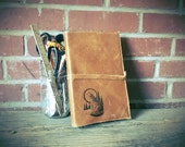 Large Leather Journal - Lined Leather journal - Leather Sketchbook Cover - Monogram - Personalize
