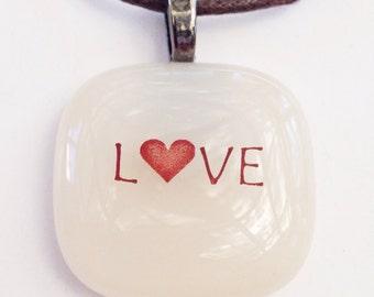 Love fused glass pendant - light peach glass // Love necklace // heart jewelry // heart necklace // heart pendant