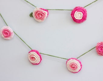 Pink Rose Garland, Hand Crocheted Flower Garland, Girls Room, Nursery Decor, Shower Decor