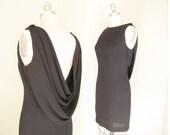 Draped Back Cocktail Dress / Retro Vintage 1990s Dress / Neiman Marcus Little Black Dress / LBD / Cocktail Party / Small Size 4