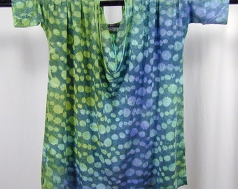 Effervescence in Ultramarine, Aqua, Willow, and Graphite. A Hand-dyed Deep Vee Flowy Dolman 1/2 sleeve Modal Top (medium)