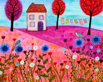 Art Print - House Art Print - Large Art Print - Landscape Painting - Large Wall Art - Meadow Art Print - Mixed Media Art - House Painting
