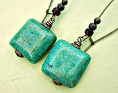 Crackled Green Turquoise Tiles on Rustic Brass Fish Hook Earwire Earrings: Knossos