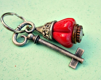 Silver Keyring or Purse Charm with Big Red Fluted Glass Bead: Picchu