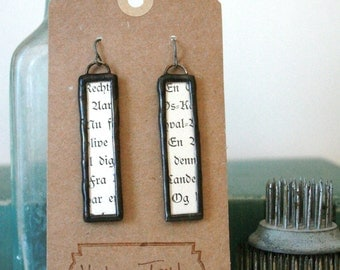 Foreign Words - Soldered with Black Patina Earrings