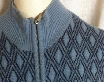 Vintage Ski Sweater, Ann Taylor Womens Blue Fair Isle Mock Turtleneck Zip Cardigan Sweater Size Medium M