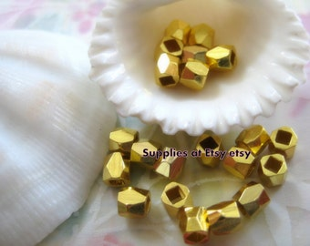 Sale gold Plated Heishi beads 4mm-gold Faceted Polygon Spacer beads- Fancy Spacer beads  Squared faceted,abacus