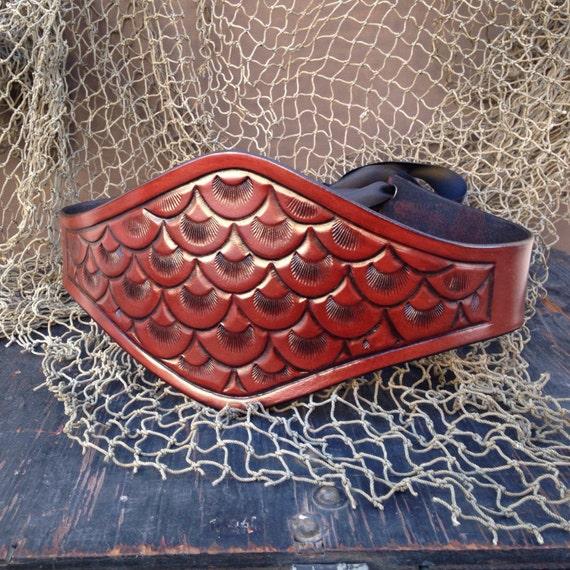 fish scale pattern handmade tooled mahogany by