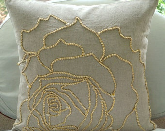 "Ecru Throw Pillows Cover For Couch, 16""x16"" Cotton Linen Pillows Covers For Couch, Square  Jute Rose Flower Pillows Cover - Linen Rose"
